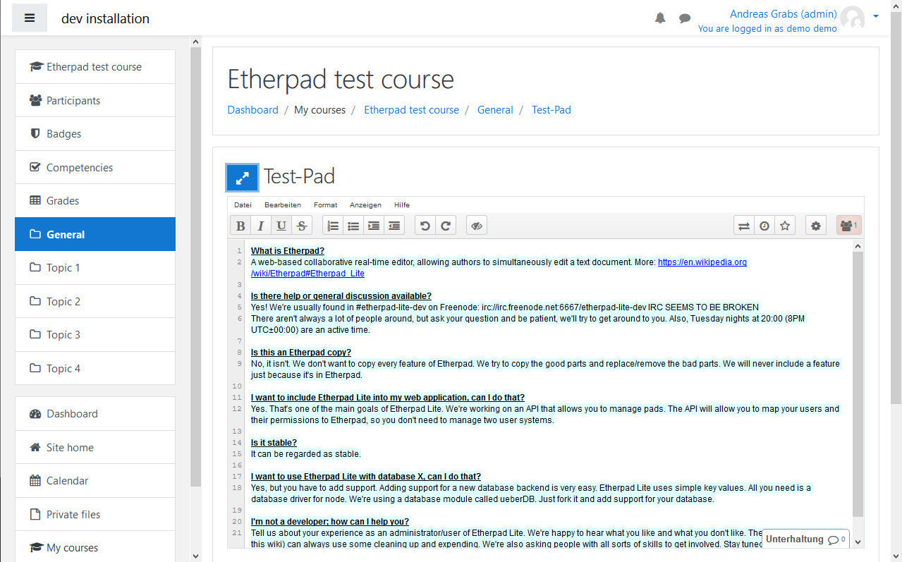 Etherpad-Lite in Moodle