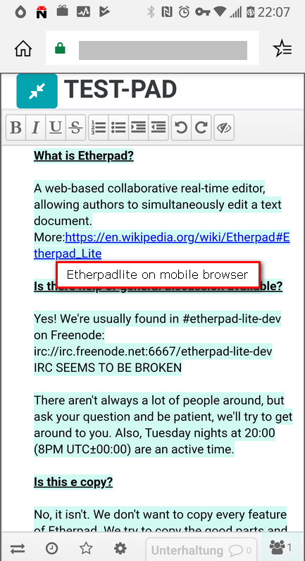 Etherpad-Lite Mobil