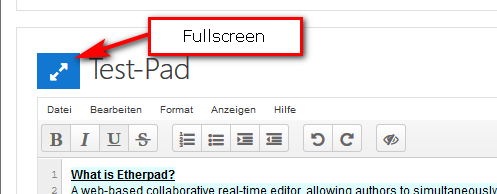 Etherpad-Lite Fullscreen-Modus